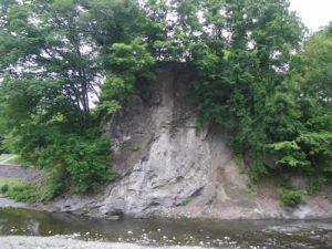 新田橋の礫岩露頭(あらたばしのれきがんろとう)